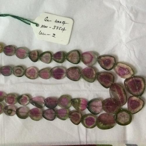 Natural Watermelon Tourmaline Smooth Slice Beads Necklace Set Slices Bead