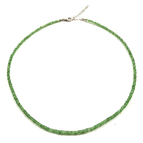 Jewelry Natural Green Garnet Stone Beads Silver Hook Necklaces Online