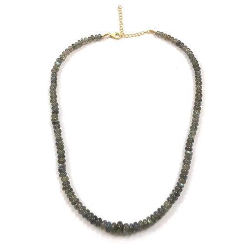 Necklace Natural Labradorite Smooth Beads Strand Necklace Set