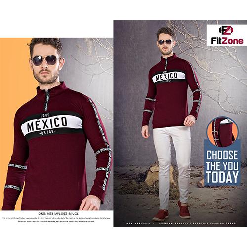 Fullsleeve High Neck Zipper T-Shirt