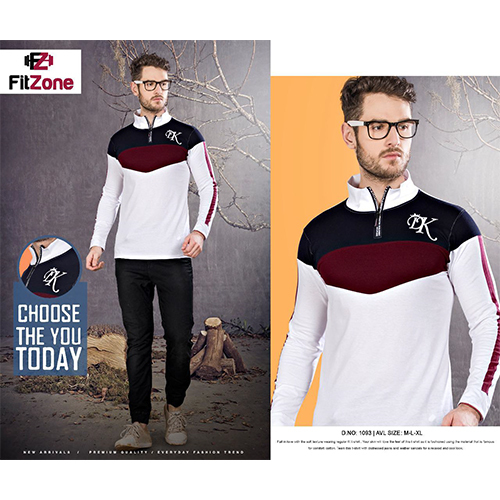 Mens Designer Zipper T-Shirt