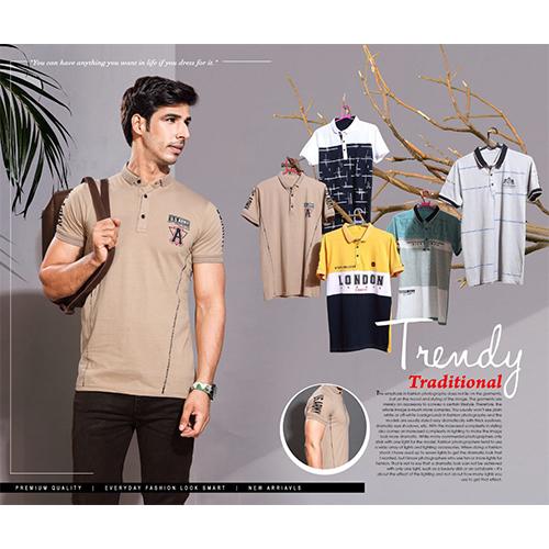 Mens Button Neck Polo T-Shirt