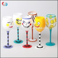 Hand Painted Custom Logo Drawing Long Stem Wine Glass
