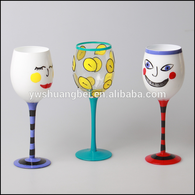 Hand Painted Custom Logo Drawing Long Stem Wine Glass