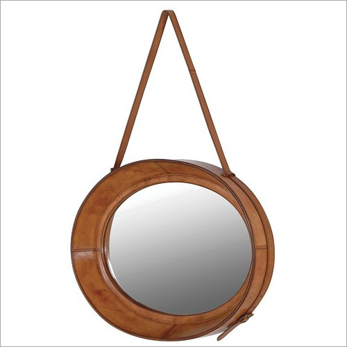 Leather Covered Round Mirror