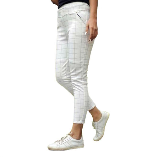 Ladies White Checked Jegging