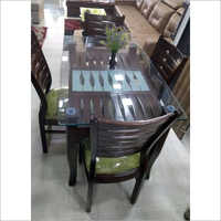 Glass Top Wooden Dining Table Set