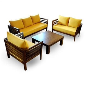 6 Seater Wooden Sofa Set With Table