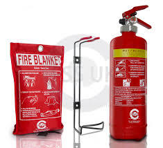 fire blanket & fire bottle