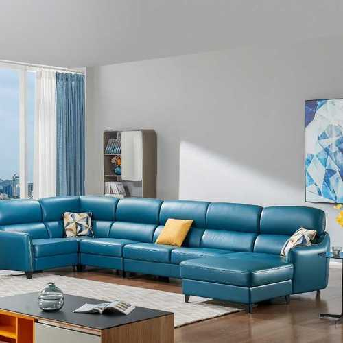 Blue Color Leather Sofa Manufacturer