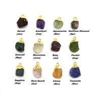 Raw Birthstone Gold Electroplated Cap Charm Pendant