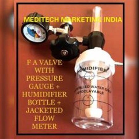 Jacketed Flow Meter (Plastic) With Humidifier Bottle & FA Valve