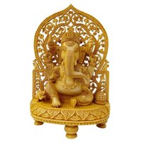 Wooden Ganesh Stetu Idol