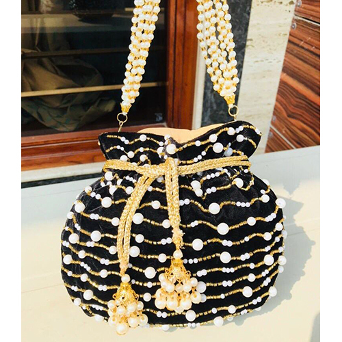 Black And Golden Potli Clutch