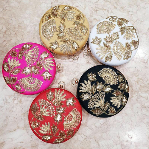 Embroidered Round Clutch