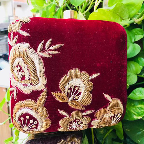 Embroidered Crafted Box Clutch