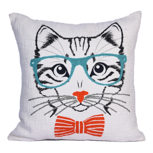 embroidery and printed cushion