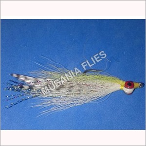 Deep Clouser Minnow White Grizzly Salt Water Flies