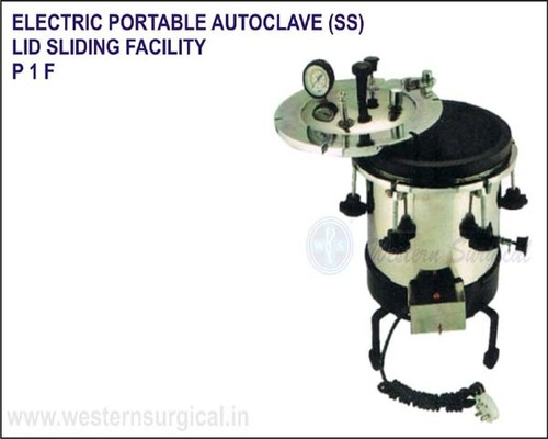 Electric Portable Autoclave (SS) Lid Sliding Facility