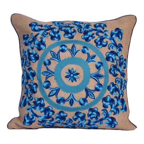 Jute embroidery cushion
