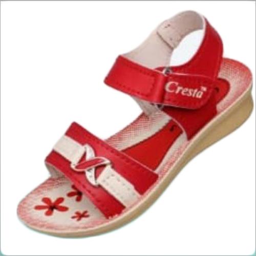 Kids Girls Red Velcro Sandals