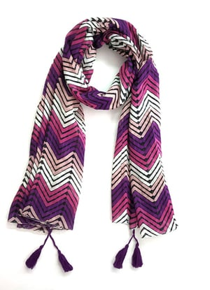 printed scarf with tassel