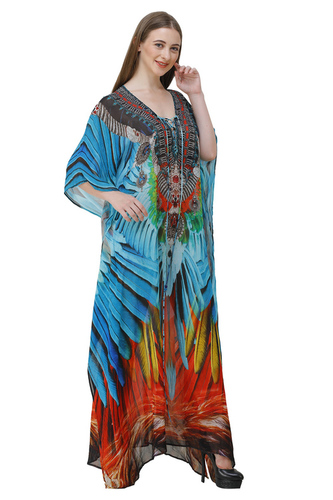 digital printed long kaftan back  with embellishment crystals