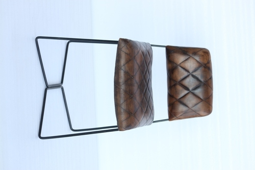 designer iron leather chair