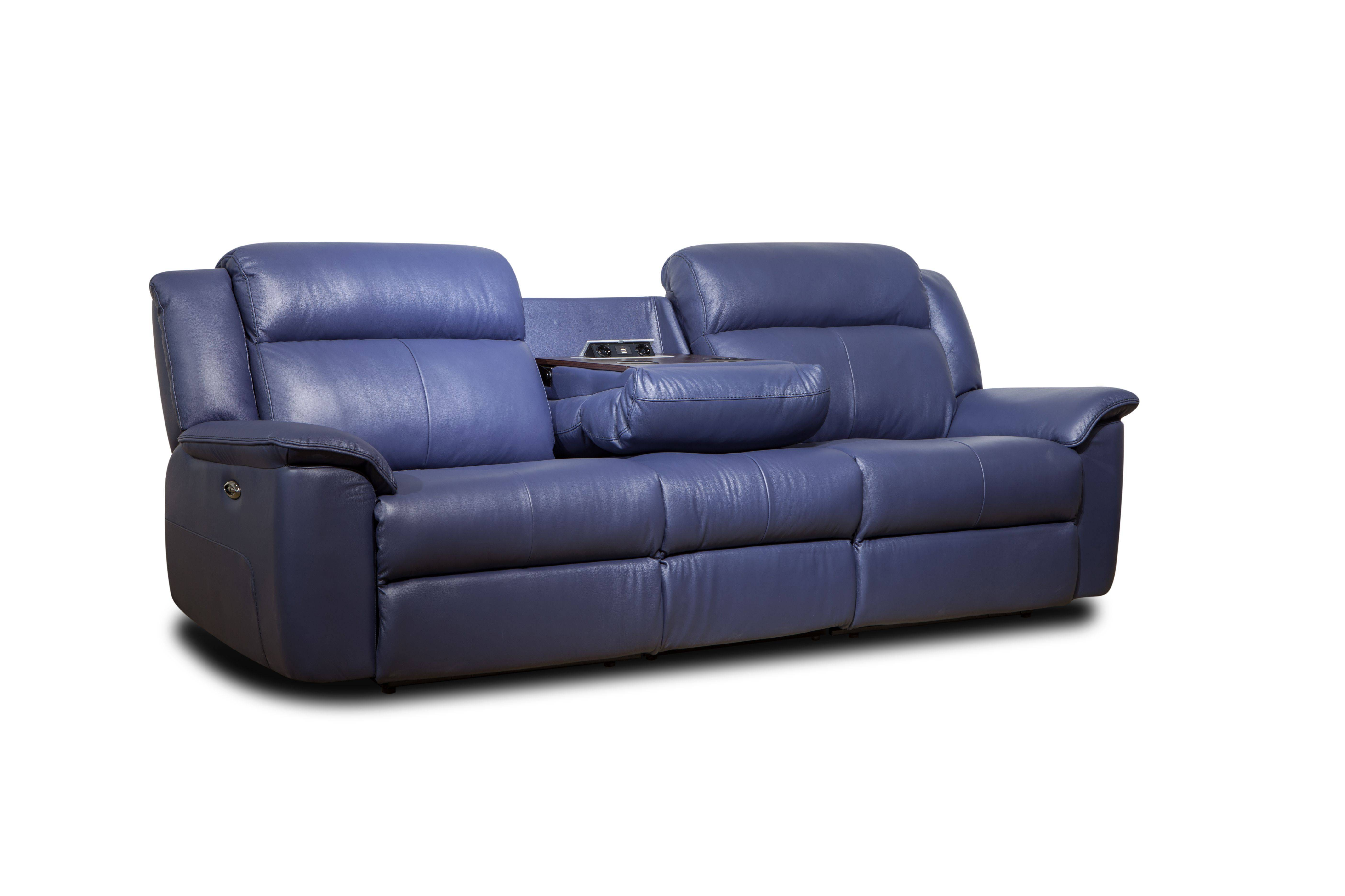 Modern Blue Leather 3 Seater Electric Sofa Recliner With Chaise