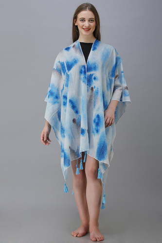 digital printed crepe poncho with fancy tassel