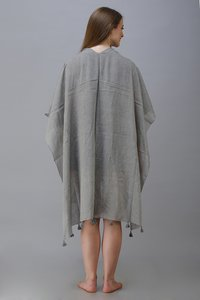 dyed poncho with tassel