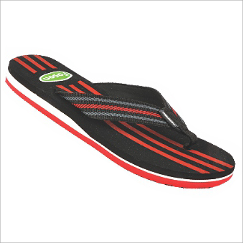 6x9 Inch Mens Black And Red Soft Slippers