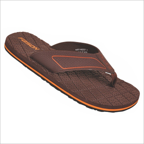 6x9 Inch Mens Brown And Orange Regular Slippers
