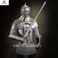 B07F5FPVMB NAUTICALMART Lorica Segmentata Metal Suit Armor with Butted Chainmail, Gauntlets and Closed Helmet