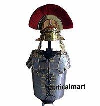 B07FF1BD78 Armor Breastplate Larp w/ Brass Helmet Red Plume Lorica Segmentata