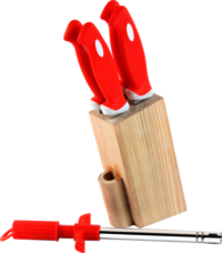 Wooden 5 Pcs Knives Set With SS Lighter