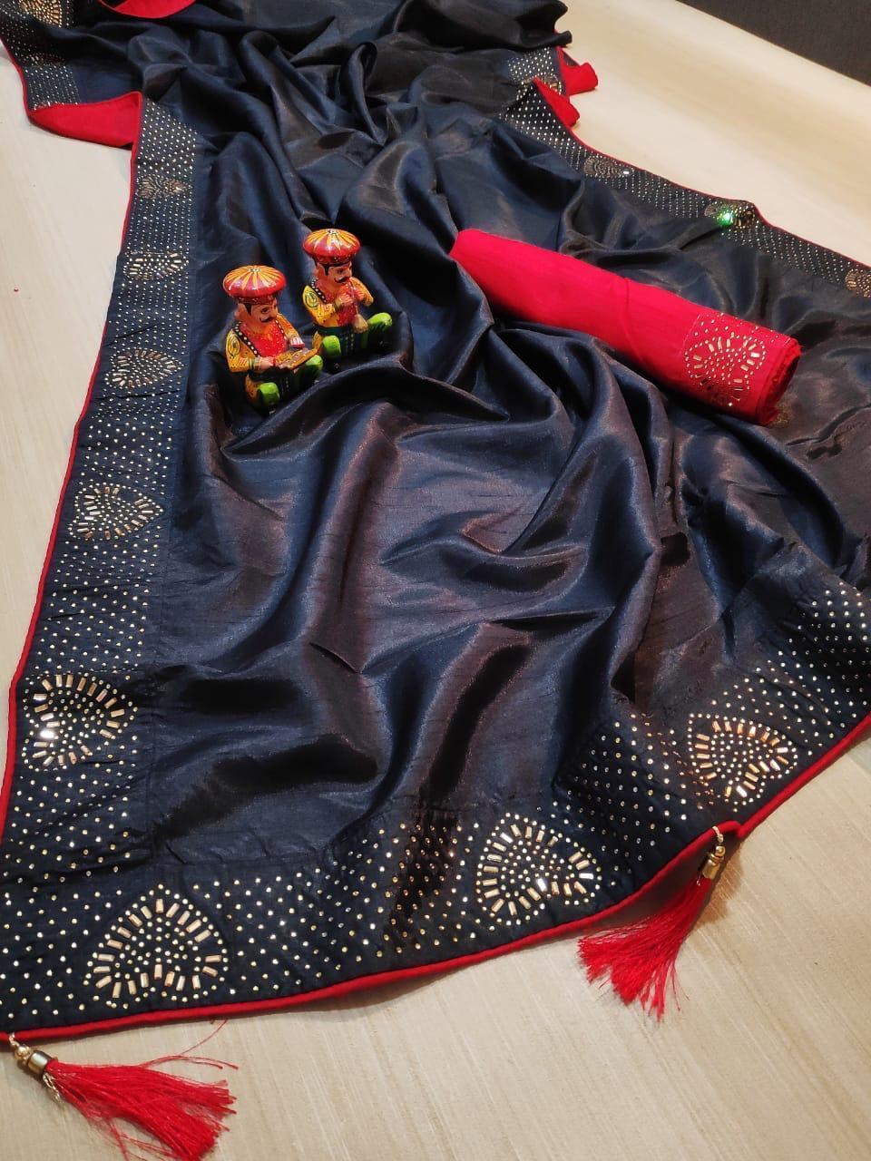 zoya silk saree with shining latkan