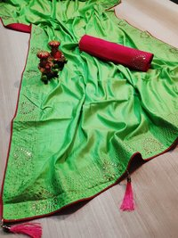 zoya silk saree with shining latkan