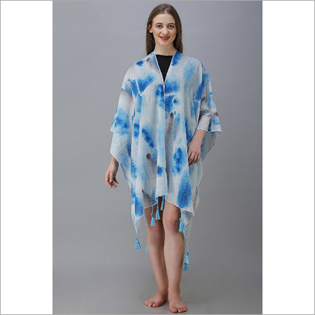 Digital Printed Crepe Poncho with Fancy Tassels