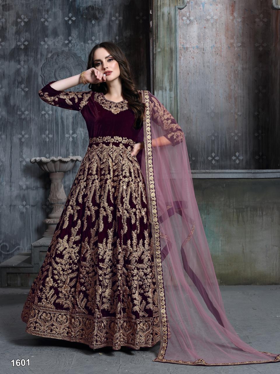 Velvet Embroidered Anarkali Suit