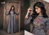 Satin Silk Embroidered Dress