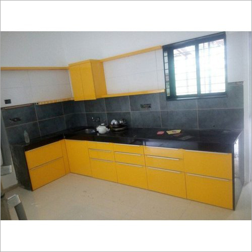 Yellow Modular Wooden Kitchen