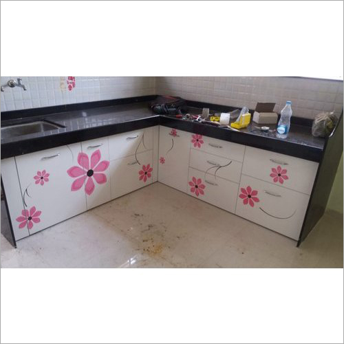 Floral Printed Wooden Kitchen