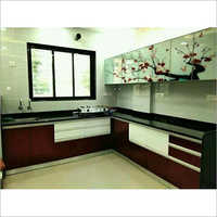 Brown Modular Wooden Kitchen