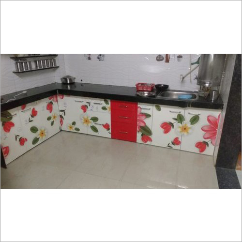 Flower Printed Modular Kitchen