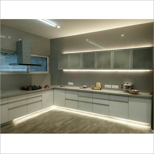 L Shape Modular Kitchen With Cabinets