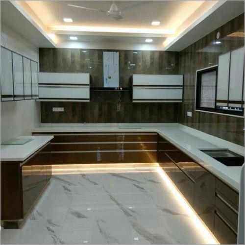 U Shape Modular Kitchen With Cabinet