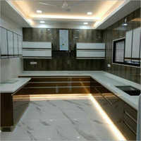 U Shape Modular Kitchen With Cabinet