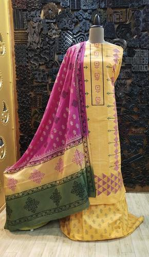 Khadi Suit With Block Printed