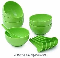 Doershappy Round Shape Soup Bowls Set 6 Bowl And 6 Spoon